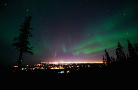 October 12, 2012 Aurora Borealis (or Northern Lights) viewed from Prominence Point, Anchorage, AK.